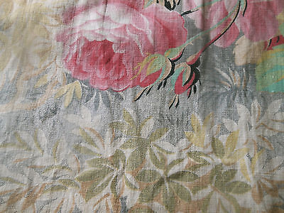 Antique French Floral Woodland Roses Foliage Cotton Fabric #1 ~ pink aqua gray