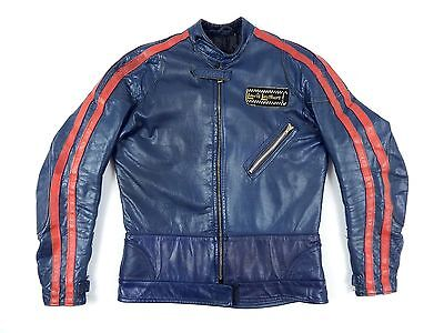Vintage AVIAKIT LEWIS LEATHERS Twin Stripe Sportsman Motorcycle Jacket S M Rare