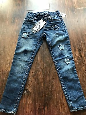 Nwt Gap Kids Girl Mid Rise Skinny Legging Jeans High Stretch 6Regular Star Patch