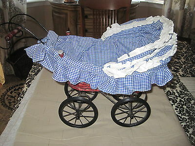 Vintage Baby Doll Carriage Wicker with Gingham Fabric