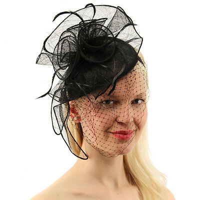 CC Sinamay Feathers Netted Veil Fascinators Headband Cocktail Derby Hat Black