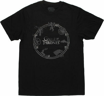 Game Of Thrones CIRCLE OF SEVEN HOUSES SIGIL RING T-Shirt NWT 100% Authentic