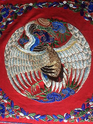 Beautiful Vintage Chinese Embroidery Phoenix Gold Thread Large