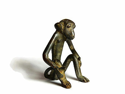 African Antique Cast Bronze Akan Ashanti Gold Weight - a monkey  4