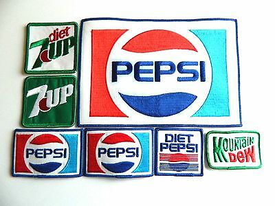 Lot of 7 Vintage Pepsi Co. Uniform Patches, New Old Stock, Mountain Dew, 7up