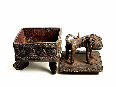 African Tribal Rare Antique Ashanti Cast Bronze Gold Sand Box - Lion on lid