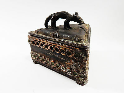African Tribal Rare Antique Akan Ashanti Cast Bronze Gold Sand Box 1