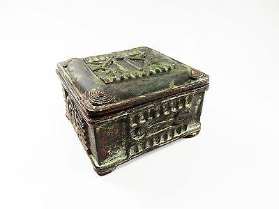 African Tribal Rare Antique Akan Ashanti Cast Bronze Gold Sand Box 13