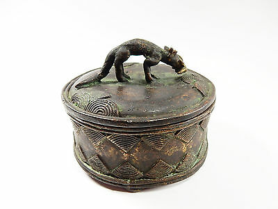 African Tribal Rare Antique Akan Ashanti Cast Bronze Gold Sand Box 15