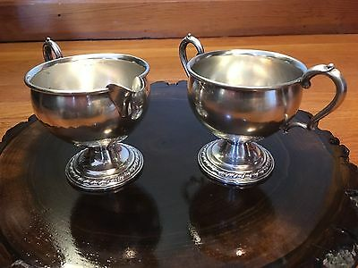 Vintage La Pierre Sterling Silver Sugar And Creamer Set, Weighted Reinforced