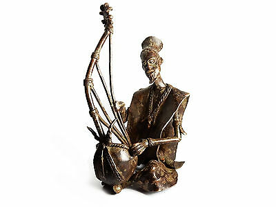 Antique AFRICAN TRIBAL AKAN ASHANTI Kora Player Sculpture