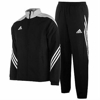Mens Adidas Tracksuit Sereno Full Zip Jogging Bottoms Tops Trouser Black