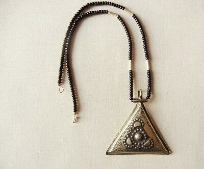 Vintage African Tribal Tuareg Necklace With Silver Triangle Talisman Pendant