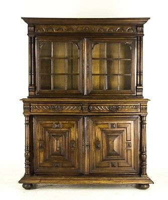 B680 Antique French Hand Carved Solid Walnut Buffet Sideboard, Display Cabinet