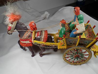 European Folk Art Wooden Wagon and Horse with Pottery Figures