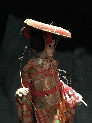 Antique Japanese 1930s Geisha Doll In Glass Dome Cabinet