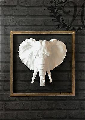 White Elephant Large Antique Head Wall Mounted Metal Resin Frame Wooden