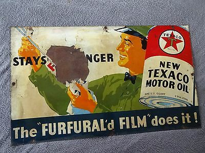 1936 Original TEXACO MOTOR OIL ~ FURFURAL'd FILM  ~ Metal Gas Sign
