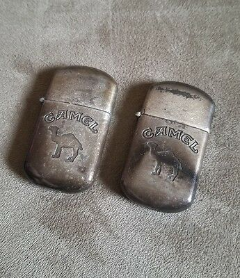 2 Vintage Camel Cigarette Lighters For Parts Or Repair