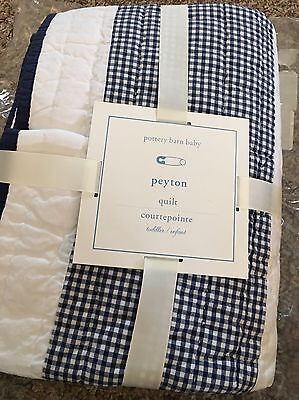 Pottery Barn Kids Peyton Navy Gingham Nursery Crib Quilt