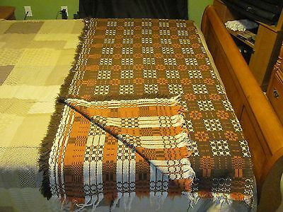 Antique Handwoven Wool Coverlet- Reversible-Brown and White-72x62 Vintage