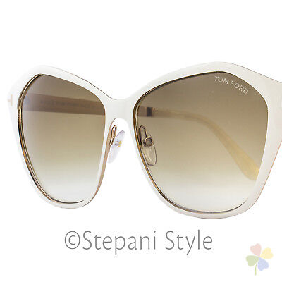 Tom Ford Butterfly Sunglasses TF391 Lena 25F Ivory/Gold FT0391
