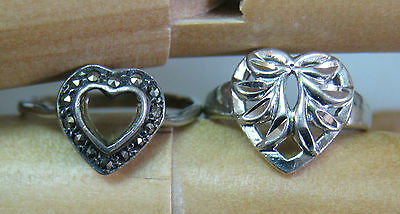 Sterling Silver Heart Ring Lot of Two
