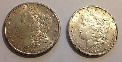 Two (2) Different Early Date Morgan Silver Dollars 1881-S,1885 High Grade AU/BU
