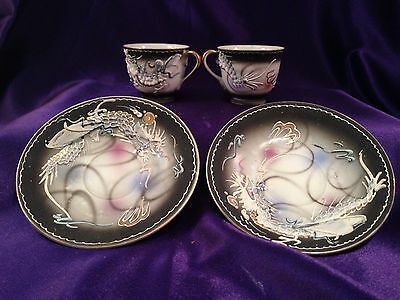 Victora China Dragonware Set of 2 Cup & Saucer Raised Hand Painted Gold