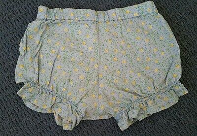 Baby girl yellow flowers cotton frilly bum nappy cover size 18-24 months