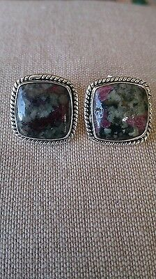 Vintage rare russian eudialyte square sterling silver 925 earrings