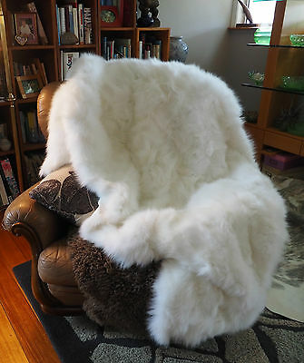 Fox Fur Throw -Pure White & Simply Stunning  1800mm x 1600mm The Ultimate Luxury