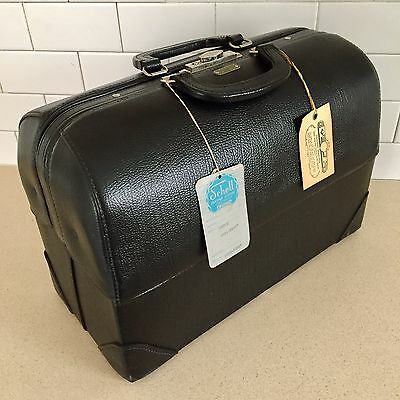 NEW OLD STOCK Black Leather Emdee Schell DOCTORS BAG with Tags and Key EXC COND