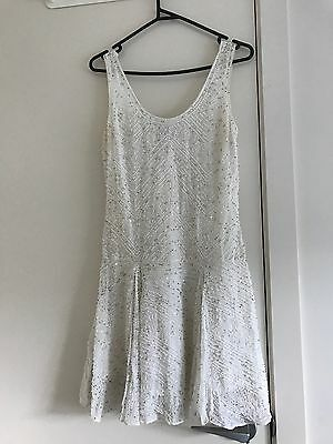 Gatsby Style White Beaded Forever New Dress Size 6-8
