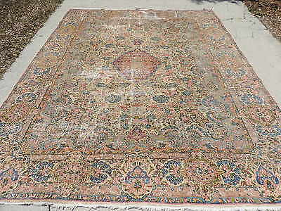 9x12ft. Antique Persian Laver Kirman Wool Room Size Rug