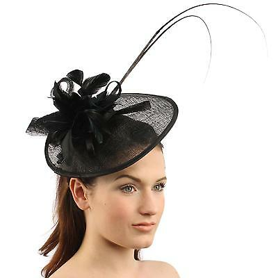 Handmade Feathers Floral Headband Fascinator Disc Millinery Cocktail Hat Black