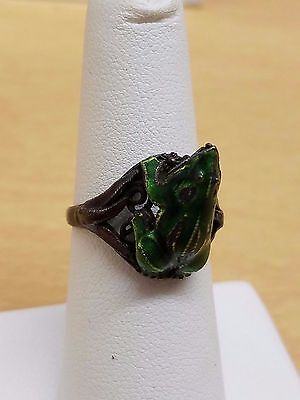 Antique enamel frog ring silver green+purple color