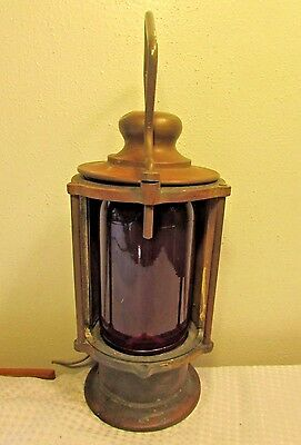 RARE Antique Ships Lantern Lamp Copper & Brass Maritime Nautical With Red Globe