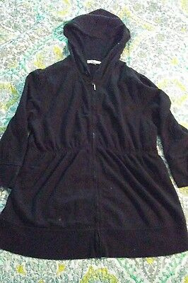 Liz Lange Maternity  Zip Up Jacket Sweatshirt Black L Cute Cozy ��