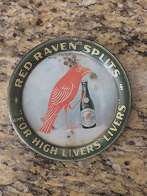 Vintage 1920-30s Red Raven Splits Litho Tin Tip Serving Tray Aperient Water