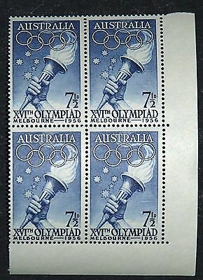 MELBOURNE OLYMPICS  1956 - 7 1/2d- BLOCK OF FOUR - MNH