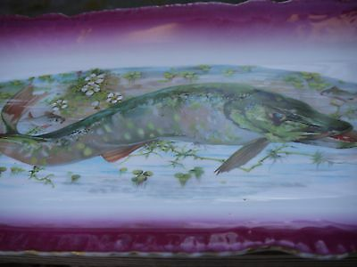 Antique*Fish*Platter*Circa 1900*Deep Pink*Gold*Victorian*markers mark*Plate*