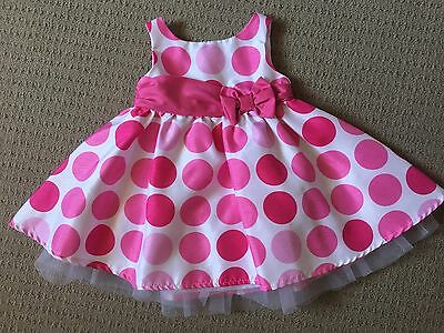 Girls Junior Baby Polka Dot PARTY DRESS Size 00 Pink And White