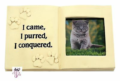 Pet Memorial Plaque with Photo Holder Cat  Pet Lover Keepsake poly resin