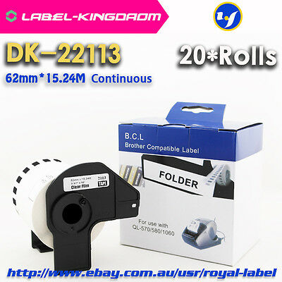 20 Rolls Brother Compatible DK-22113 Film Labels All Come With Plastic Holder