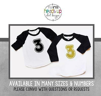 Boy Girl Twins 3rd Birthday Shirts Twin Third Bday Raglan Tees Toddler Kids
