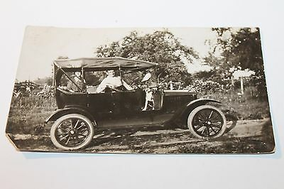 Antique Touring Car Rppc Family W/ Dog Real Photo Postcard