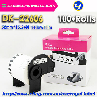100 Rolls Brother Compatible DK-22606 Label Yellow Film Come With Plastic Holder