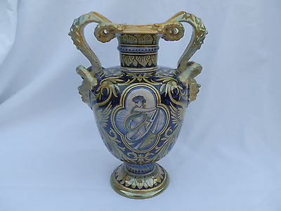 Antique Italian Renaissance Style Luster Majolica Vase Urn 19/20c Signed Robbia