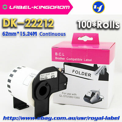 100 Rolls Brother Compatible DK-22212 White Film Labels Come With Plastic Holder